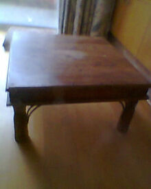 INDIAN STYLE OCCASIONAL TABLE - SOLID WOOD & METAL