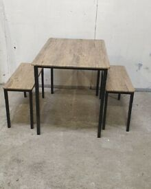 Bolitzo Oak Effect Dining Table & 2 Benches No110513