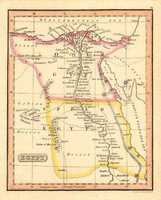'Egypt ' by Fenner - Lower & Upper Egypt c1830 old antique map plan chart