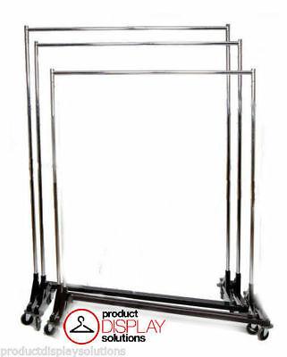 Adjustable Height Commercial Grade Rolling Display Z Rack Black Base