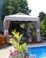 Toile de gazebo terrasse et jardin dans qu bec petites for Bellagio gazebo club piscine