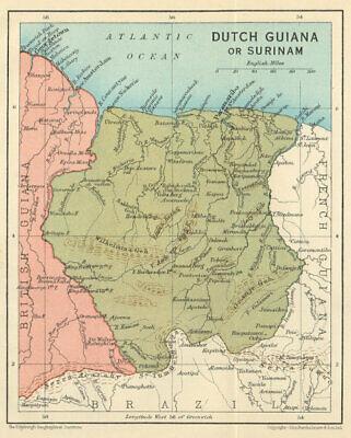 DUTCH GUIANA or SURINAME. Vintage map. Guyanas. West Indies. Caribbean 1931