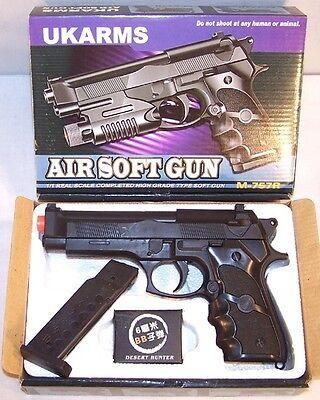 BOXED BLACK LARGE AIR SOFT PISTOL KN180 target practice pistols airsoft guns  ()