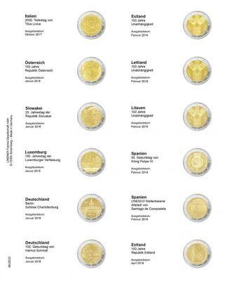 Lindner MU2E20 Multi collect Vordruckblatt für 2 Euro-Gedenkmünzen: Italien 2017