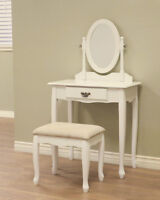 White Vanity Table- Makeup desk and stool, New in Box