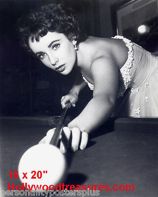 "Elizabeth Taylor~Shooting Pool~Pool Hall~Billiards~#1~Poster~16"" x 20"" Photo"