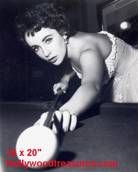 "Elizabeth Taylor~Shooting Pool~Pool Hall~Billiards~#1~Poster~16"" x 20"" Photo"