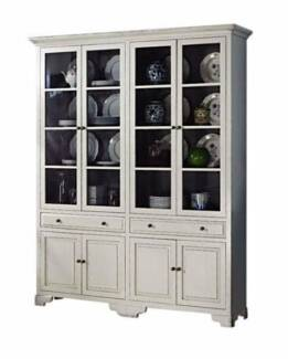 French Provincial Classic White Cupboard Display Cabinet Bookcase