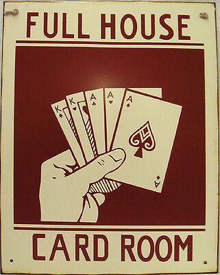 Full House Signs (Full House Card Room Poker Gambler Gambling Betting  Rustic Vintage Metal Sign)