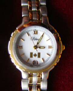 Ladies Watch, gold and chrome finish w. Canadian flag - NEW