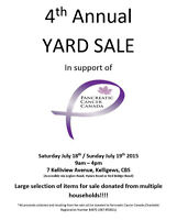 4th Annual NL Yard Sale for Pancreatic Cancer Canada