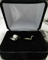 14KT WHITE GOLD LADIES 1/2 CT DIAMOND SOLITAIRE RING + BAND