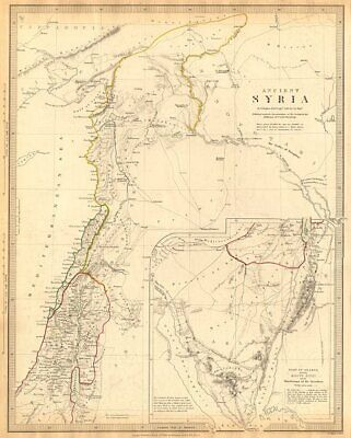 ANCIENT SYRIA. Levant; Sinai.wanderings of the Israelites. SDUK 1844 old map