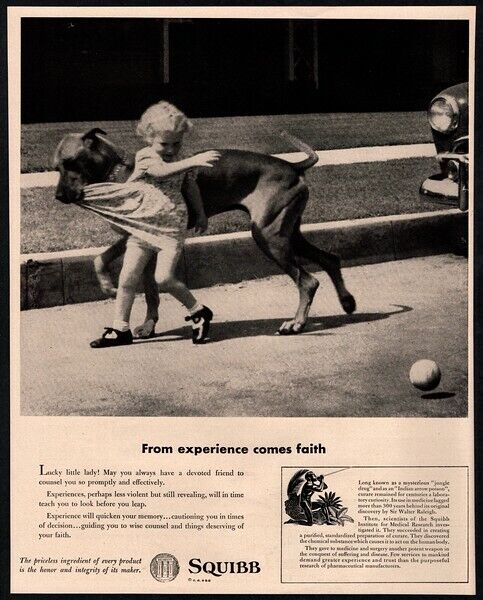 1952 SQUIBB - Little Girl Playing Baseball, Mutt Dog Biting Dress VINTAGE AD