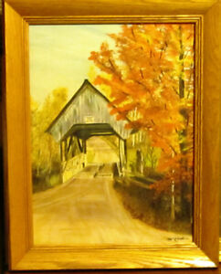 Original Maxwell Covered Bridge Oil Painting.