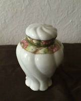 Antique porcelain vanity jar with two lids, hand painted japan