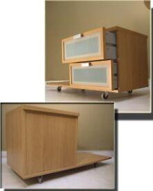 Ikea Hopen Nightstand / bedside cabinet / drawers with castors