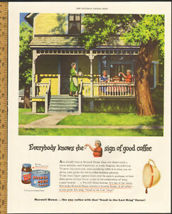 1949 full-page color magazine ad for Maxwell House coffee