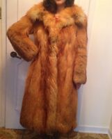 Rust FOX FUR Woman Coat - manteau de FOURRURE RENARD