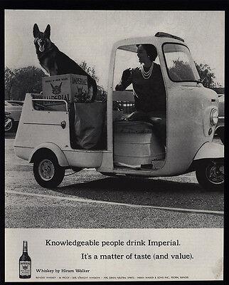 (1961 Cute GERMAN SHEPHERD Dog & IMPERIAL Whiskey - Golf Cart - VINTAGE AD)