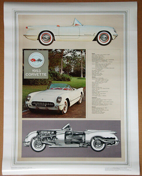 Classic 1953 CHEVROLET CORVETTE Historic Technical Automotive Wall POSTER