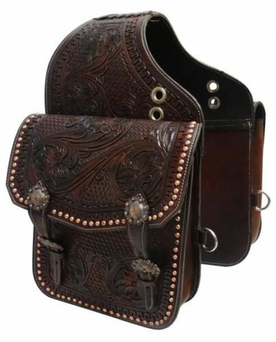 Showman Leather SADDLE BAG Floral Tooled with COPPER Studs & Conchos