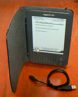 Kindle Keyboard ereader w/ Leather case and USB charging cable