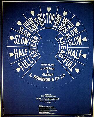 Vintage Cunard 1902 Ships Telegraph Face Plate Blueprint Plan 18x24 (170)