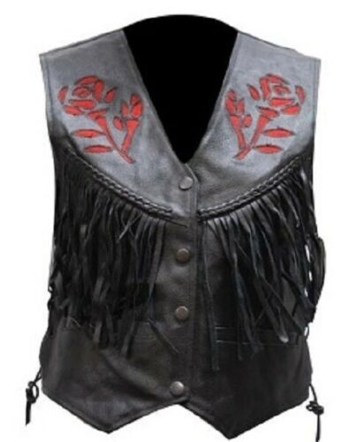 1269 Ladies Rose Embroidery Leather Vest - 3 Color Options