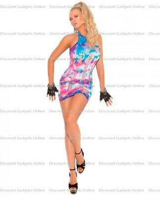 Neon Tie Dye Mini Dress Pothole Multi Color OS Lingerie Sexy Clothing - Pin Up Clothing Halloween