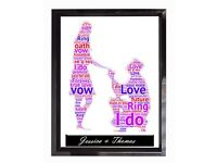 Personalised Engagement Couple Word Art Gift Present Keepsake Wedding Engagement