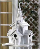 Rustic Distressed White Chapel Birdhouse Brand New