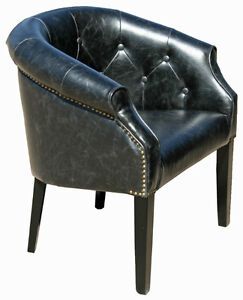 Antique Leather Tub Chair in Distress Brown or Distress Black
