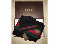 Gucci Hat and Scarf Set Black/Grey