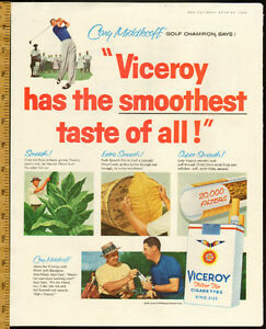 1957 large color magazine ad for Viceroy Cigrettes