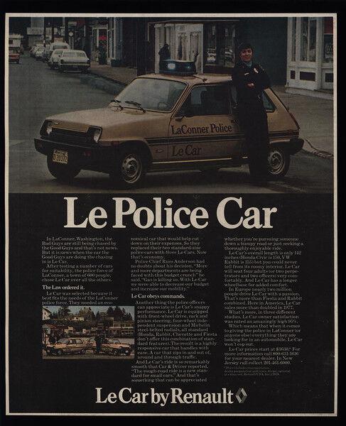 1978 Renault LeCar - Le POLICE CAR - Laconner Washington Chief Cop - VINTAGE AD