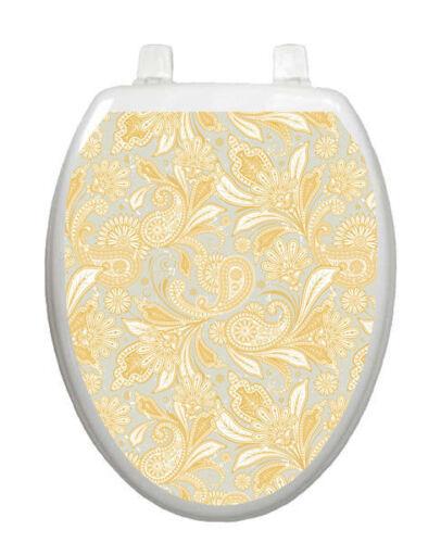 Toilet Tattoos Toilet Lid Decor  Antique Gold Paisley Bathro