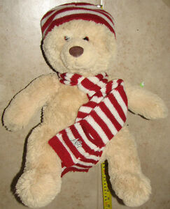 "Large 20"" Cream Aeropostal Teddy Bear with hat & scarf"