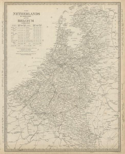 NETHERLANDS & BELGIUM. Railways in use & under construction. SDUK 1844 old map