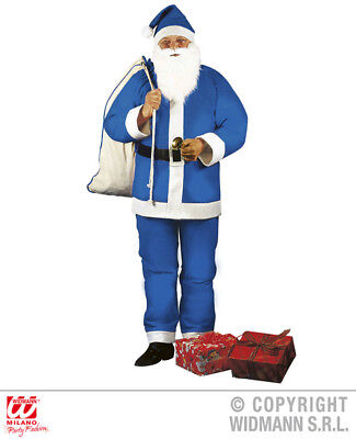 Mens BLUE SANTA CLAUS Costume for Father Christmas Fancy Dress Outfit 1Size