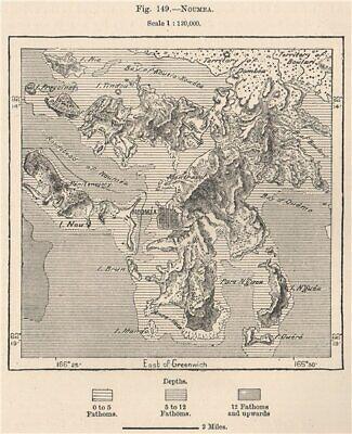 Noumea. New Caledonia. Melanesia 1885 old antique vintage map plan chart