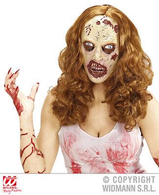 Zombie Woman Mask With Hair Psycho Girl Halloween Fancy Dress Accessory](Girl Zombie Mask)