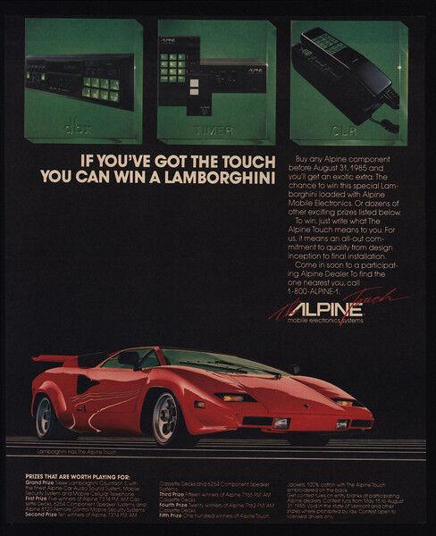 1985 LAMBORGHINI Red Car - ALPINE CAR CELLULAR CELL PHONE & STEREO VINTAGE AD
