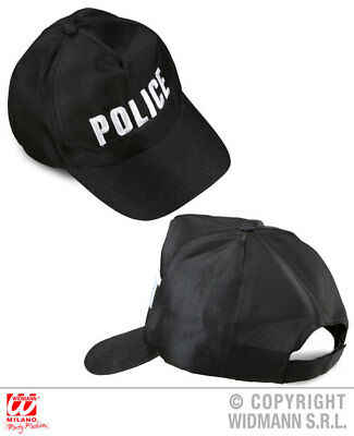 Cops And Robbers Fancy Dress (Black Police Adjustable Cap Cops And Robbers Fancy Dress Costume Accessory)