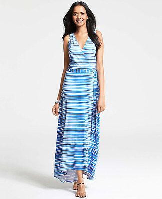Ann Taylor - Medium Blau Aquatisch Streifen Wickeloptik Maxi Kleid (312390H) (Medium, Blau Kleid)