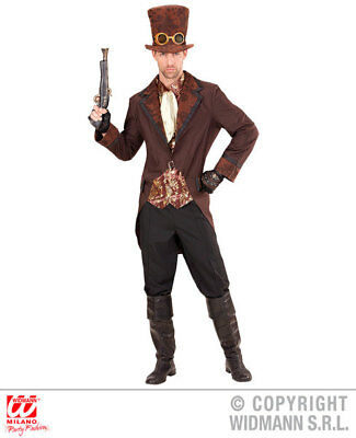 Male Steampunk Costumes (Mens Male Brown Steampunk Suit Victorian Era Fancy Dress Costume Outfit)