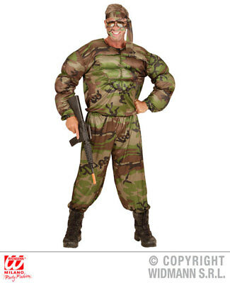 Rambo Soldier Mens Male Military Army Fancy Dress Costume Camo Outfit S-XL - Male Army Costume