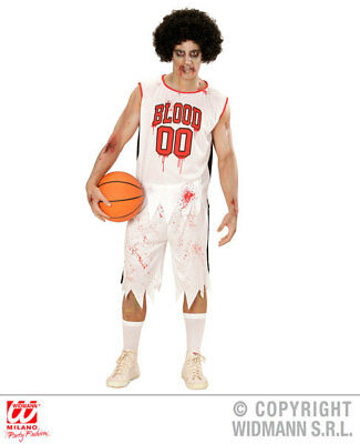 Mens Male Zombie Basketball Player Halloween Fancy Dress Costume Outfit Adult (Halloween Costumes Basketball)