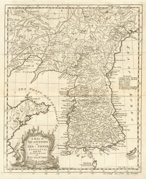 Quan-Tong or Lyau-Tong province & the Kingdom of Kau li/Korea. KITCHIN 1746 map