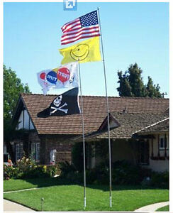 22-ft-Telescopic-Fiberglass-Dlx-Flagpole-Collapsable-Pole-w-Chrome-Ball-Flag